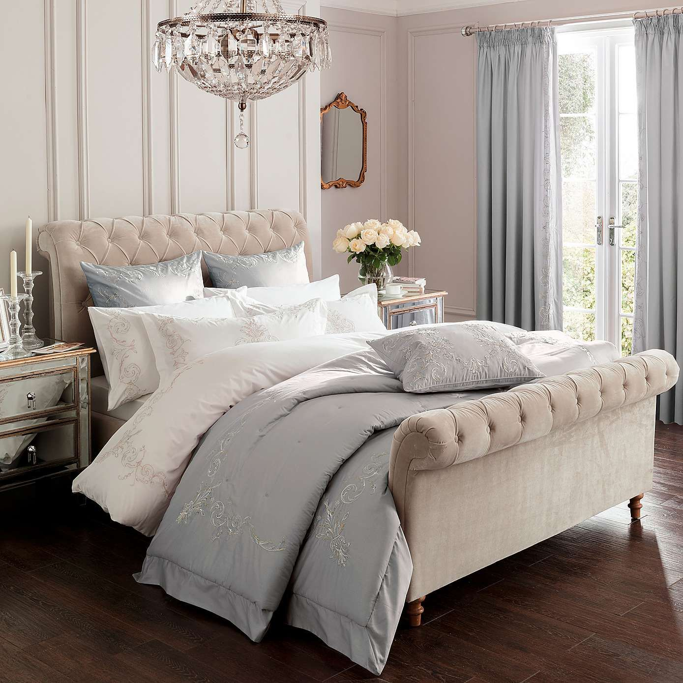 Dorma Grey Brocatello Bed Linen Collection Dunelm
