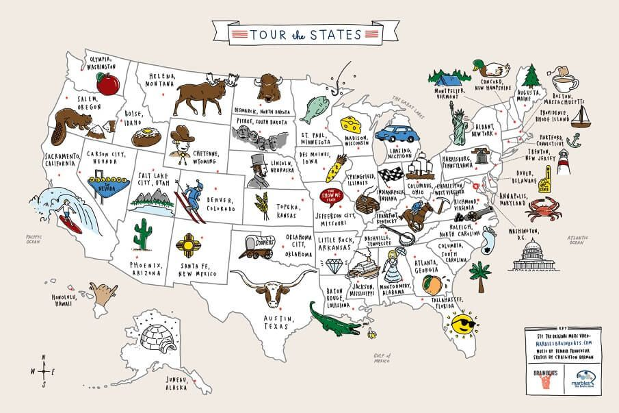 Brain Marbles Us Map Geography Scavenger Hunt Of United States | Us geography