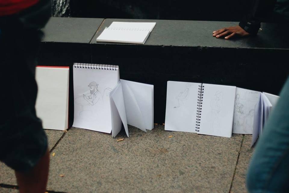 Présentation de nos dessins dans les Jardins Gamelin