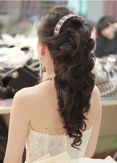 Bridal princess hairstyle. I would wear a different head piece though. | Curly hair styles ...