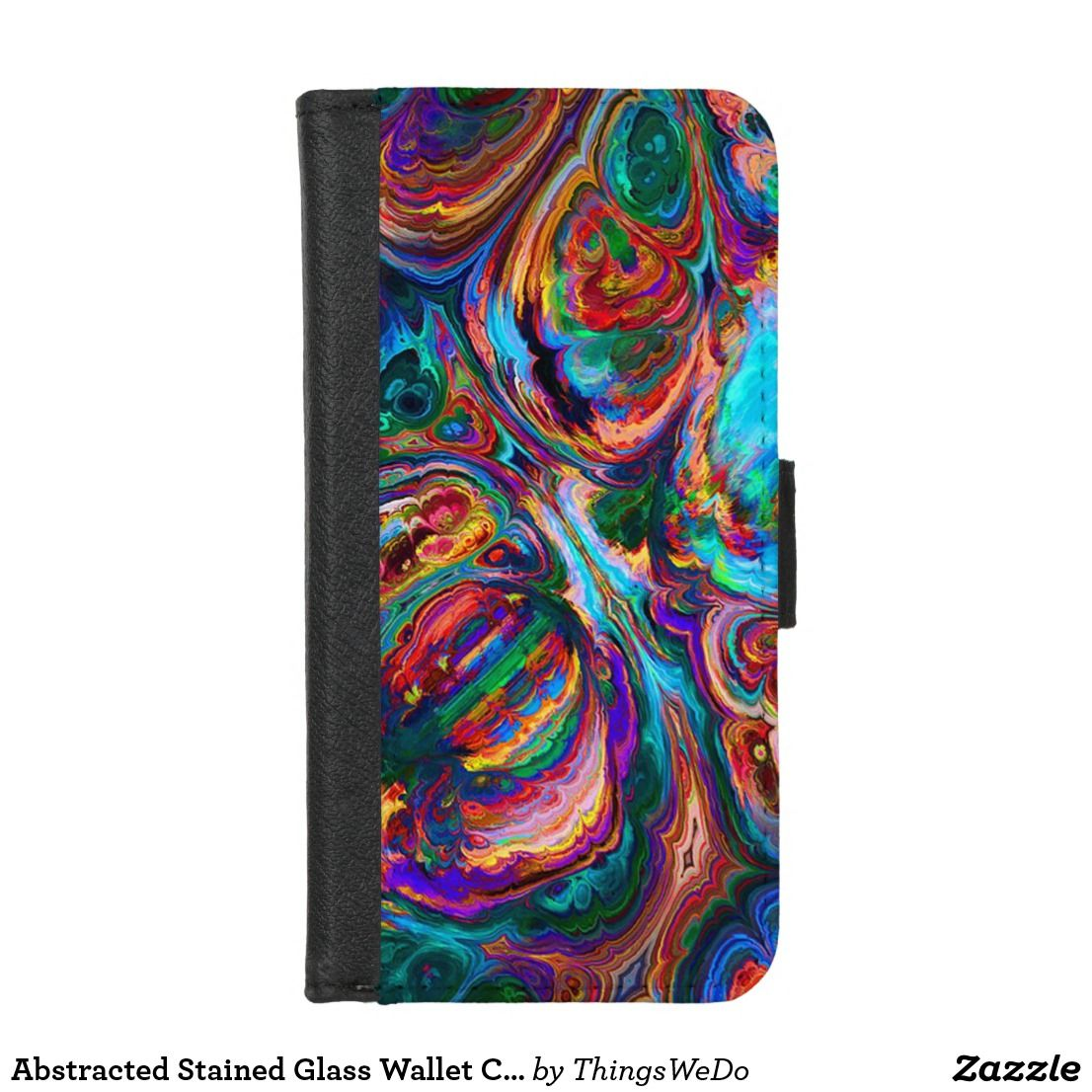 Abstracted stained glass wallet case iphone 87 ip