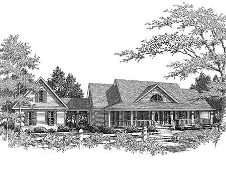 Country Farmhouse with Breezeway - 3611DK | Country, 1st Floor Master Suite, CAD Available, MBR Sitting Area, PDF, Corner Lot | Architectural Designs