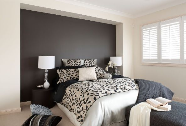 Dark Deep Charcoal Grey Feature Wall Teamed With A Warm Off White Opposing Walls Bedroom Wall Paint Colors Grey Wall Decor Feature Wall Bedroom
