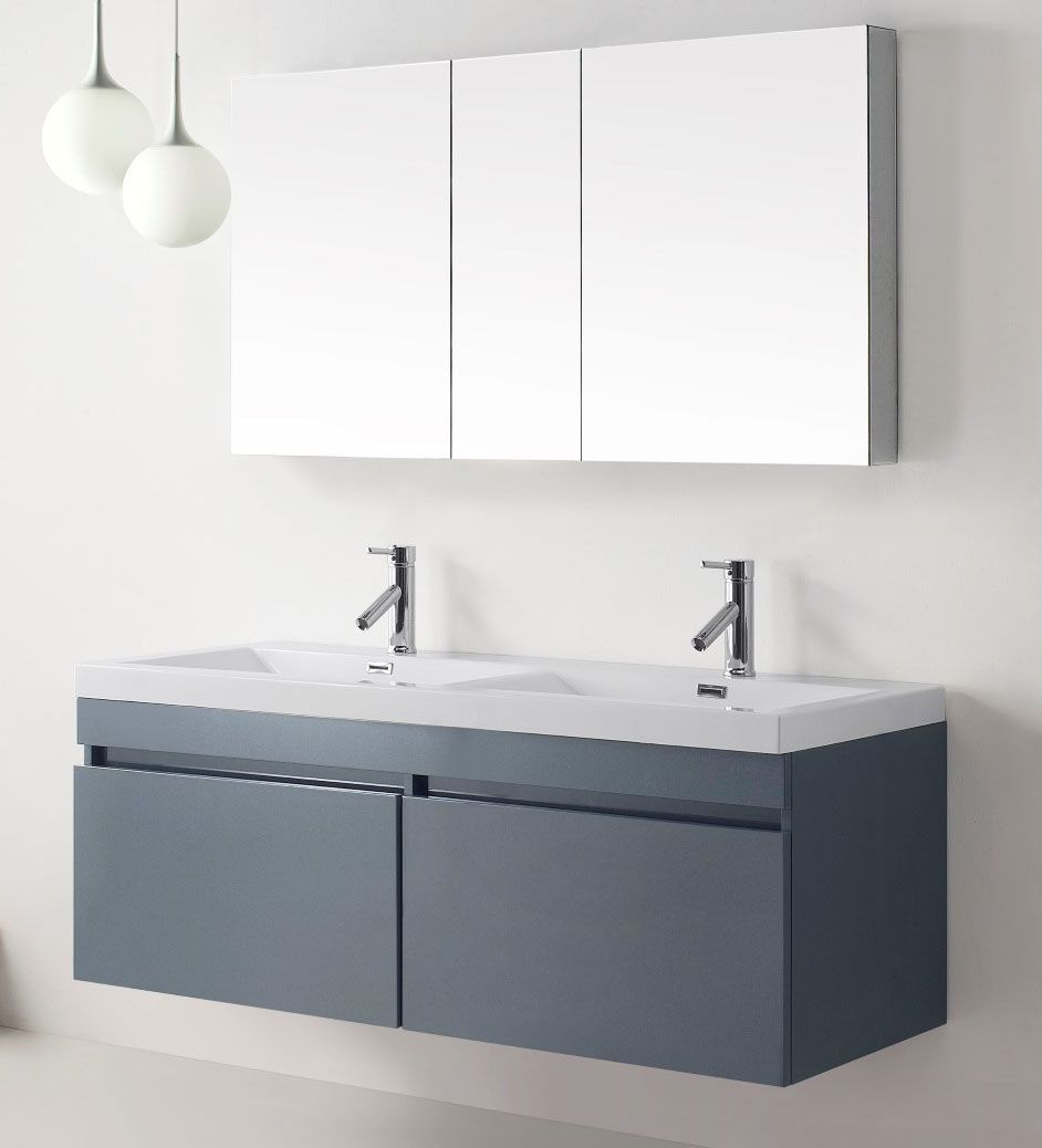 55 Inch Double Sink Bathroom Vanity. The Abodo 55 Inch Modern Double Sink Bathroom Vanity In Grey Finish