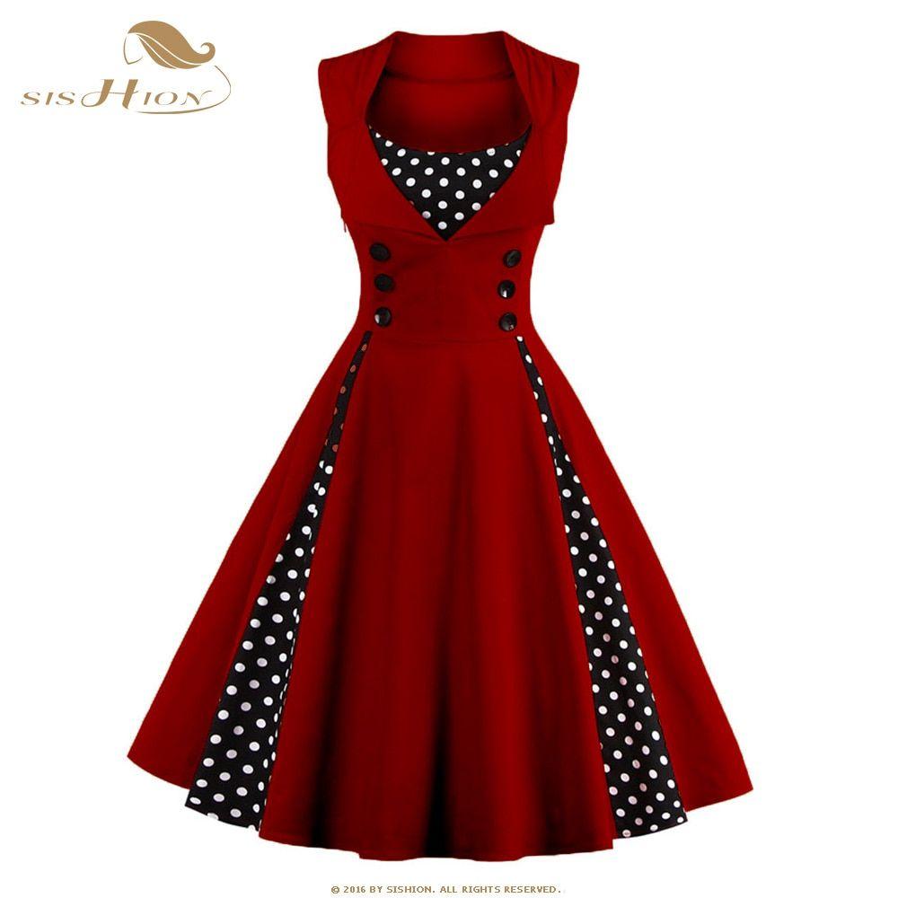 Wine Red Polka Dress Retro Vintage Dresses Polka Dot Prom Dresses