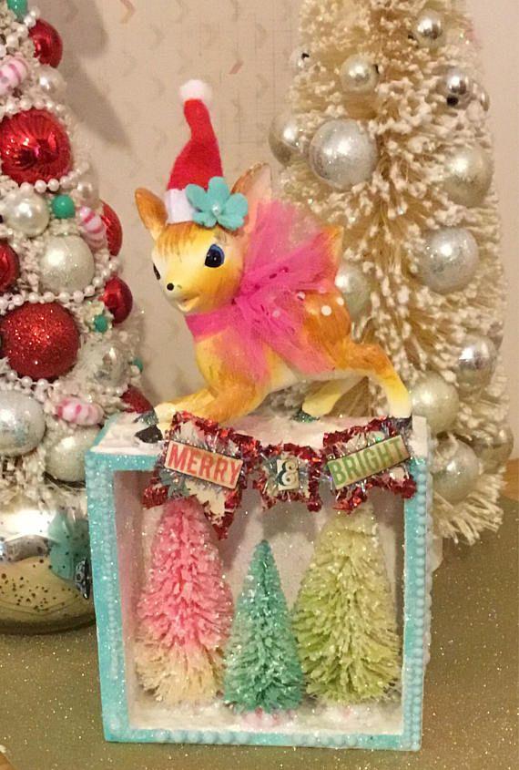 Vintage Kitschy Christmas Decoration Ceramic Deer Figurine | vintage ...