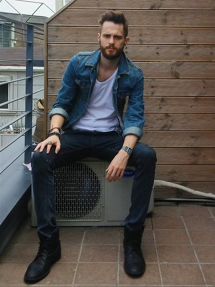 Get this look: http://lb.nu/look/7655172  More looks by Tom B: http://lb.nu/tomandtoms  Items in this look:  Topman Jacket, Asos T Shirt, Cheap Monday Jeans, Zara Boots, Casio Watch