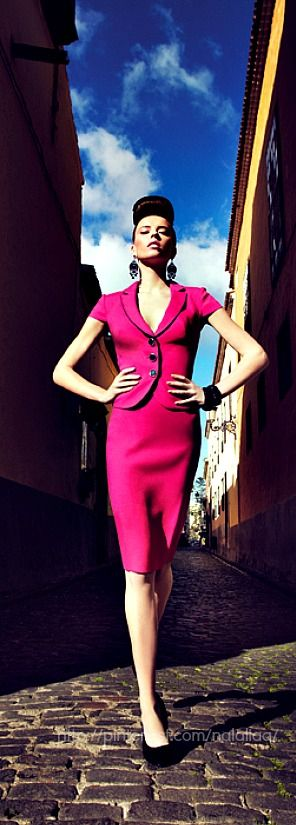 Walk tall and be proud like this lady in bright pink.