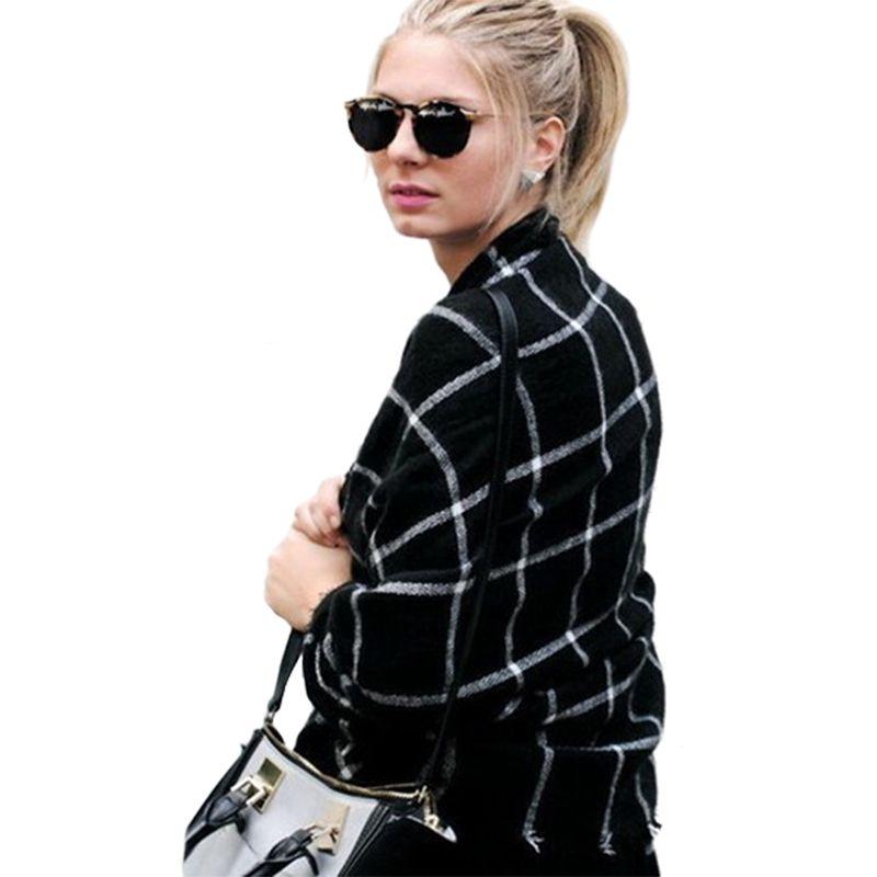 Écharpe Femmes Haute qualité Tartan foulards Tartan Plaid Écharpe Beige  Cozy Vérifié Couverture Surdimensionné Wrap Châle robe d hiver foulards 1c34dffd1e3
