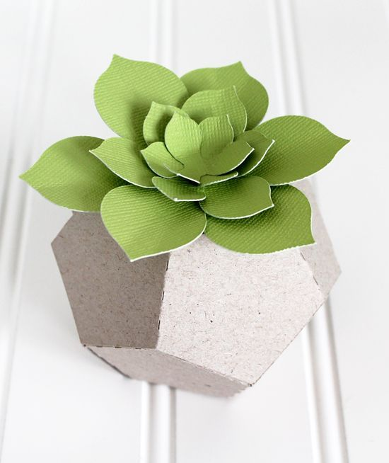 Faux Paper Succulent in Chipboard Planter made with your Silhouette! Inspired by Concrete Geometric's concrete planters {an Art School Dropout's life} #silhouetteportrait #silhouettedesignteam #papercraft