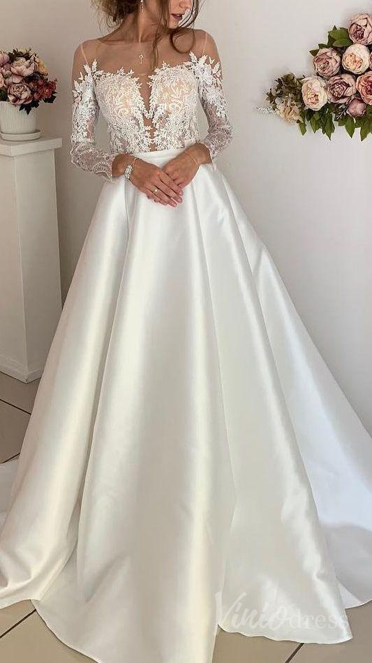 Simple Elegant Long Sleeve Wedding Dresses 2019 Vw1275 Long Sleeve Wedding Dress Lace Elegant Long Sleeve Wedding Dresses Wedding Dresses Satin