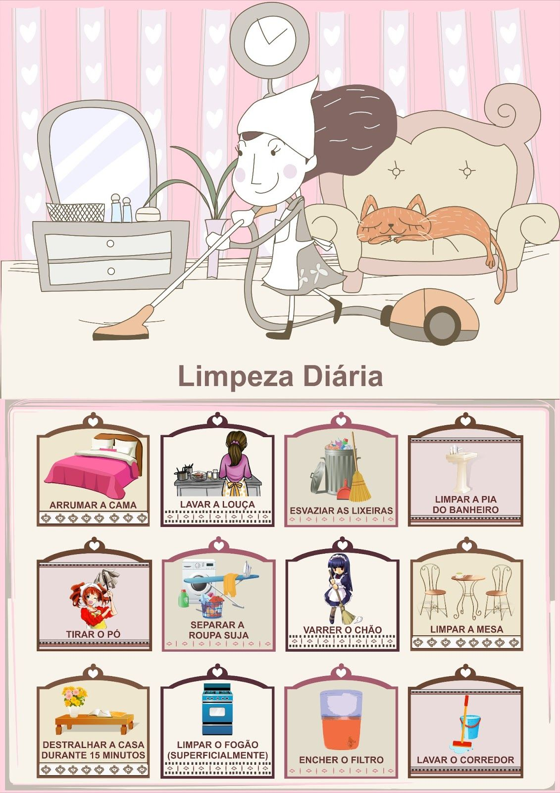 Muito Tabela de Tarefas Domésticas Diárias | Organização | Pinterest  UZ29