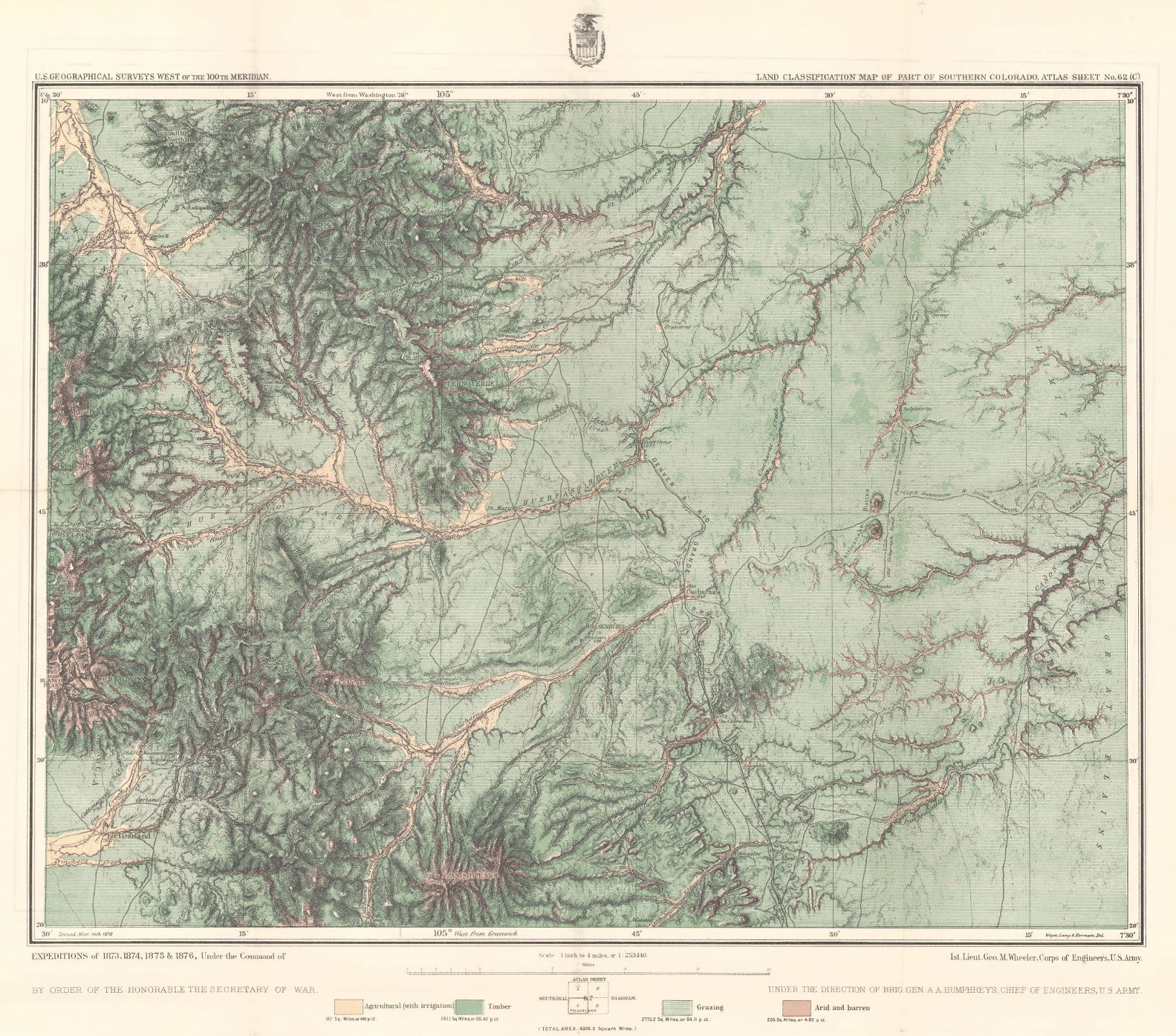 Land classification map of part of southern colorado 1878 us land classification map of part of southern colorado 1878 us geological survey wheeler george montague publicscrutiny Images