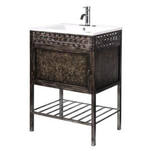 Home Decorators Collection Sydney 23 75 In W Iron Vanity In Coppery With Porcelain Van Bathroom Vanity Remodel Open Bathroom Vanity Home Decorators Collection