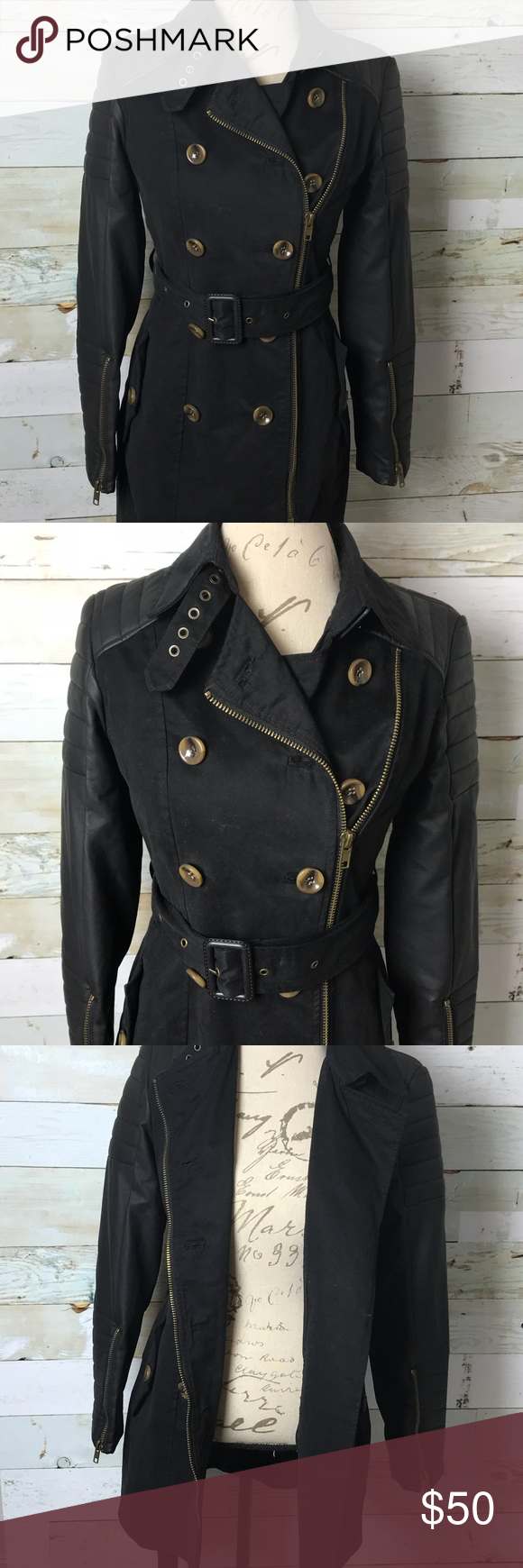 motorcycle style trench jacket faux leather Trench