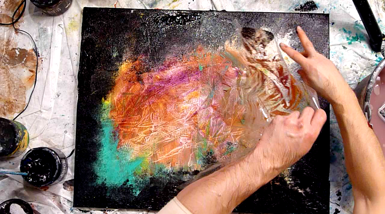 Abstract Painting Ideas Acrylic: Utilize Plastic Wrap For Your Abstract Painting Techniques