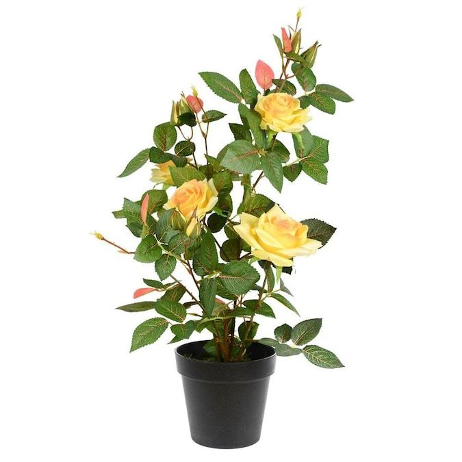 Vickerman 21 In Yellow Indoor Artificial Rose Plants Lowes Com In 2021 Flower Pots Planting Roses Planting Flowers