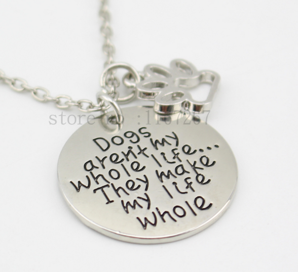 Dogs Make My Life Pendant Necklace