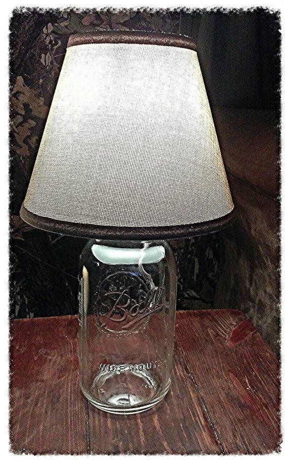 Mason Jar Lamp With Burlap Looking Lamp Shade 1 2 Gallon Mason Jar Electric Lamp Lamp Mason Jar Lamp Gallon Mason Jars