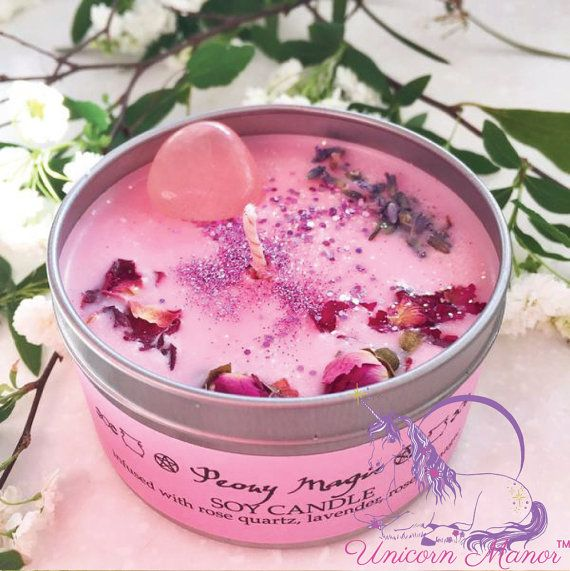 MYSTIC UNICORN Peony Magic soy crystal candle rose quartz vegan organic magic witch wicca aromatherapy lavender glitter pink - Unicorn Manor