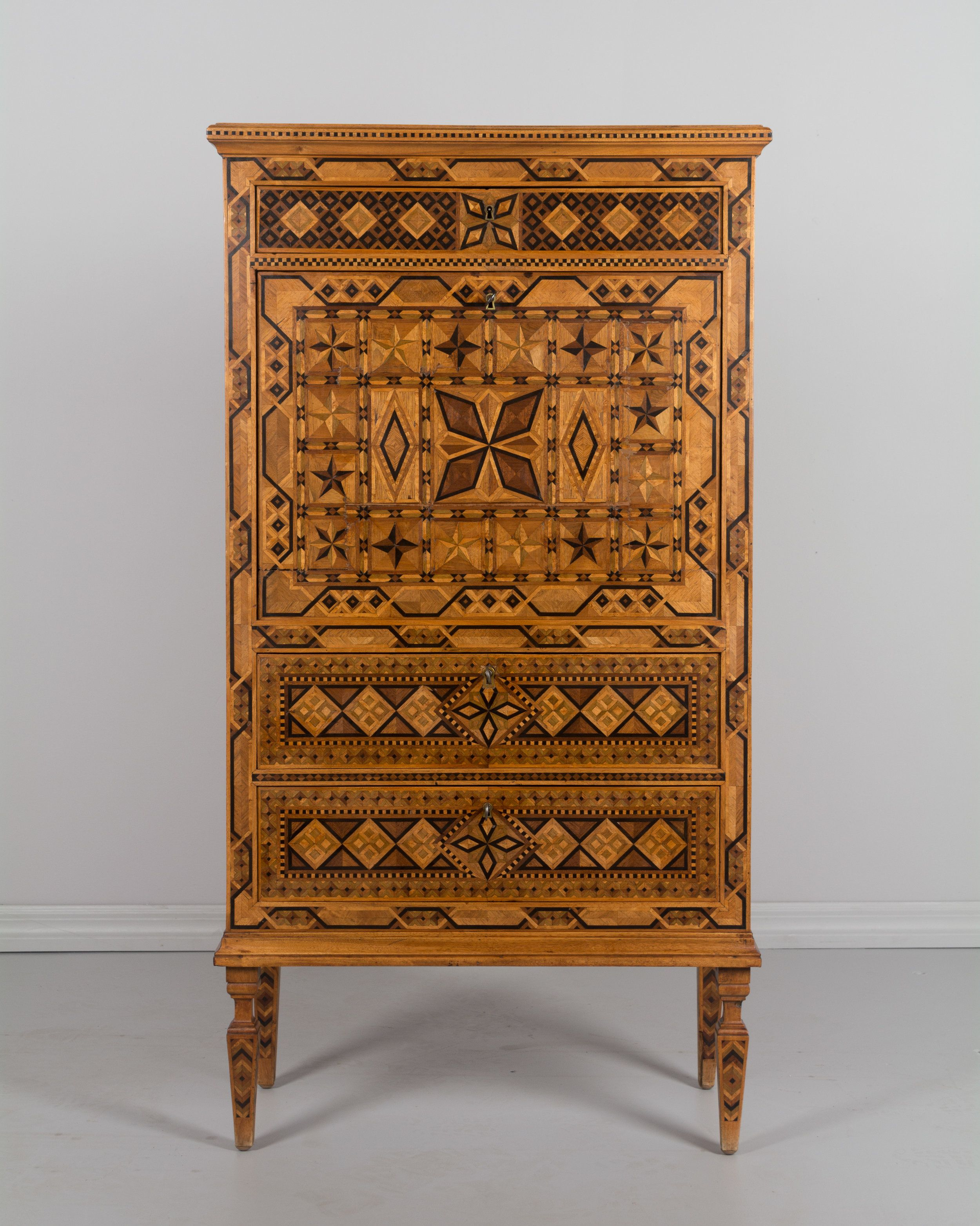French Marquetry Bar Cabinet