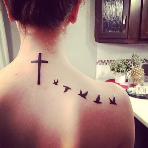 Black Ink Cross And Birds Tattoo On Back For Kylea