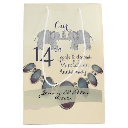 14th Wedding Anniversary Opals Elephants Medium Gift Bag Zazzle Com 14th Wedding Anniversary Wedding Anniversary Elephant Gifts
