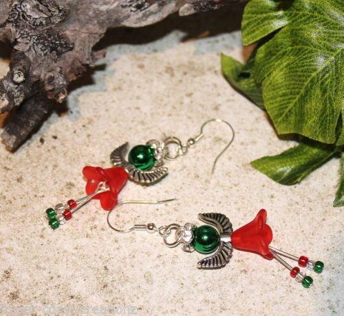 *^* Cute Little Angels - Hand Made Christmas Earrings *^*