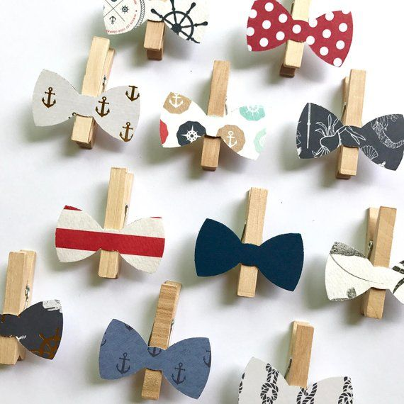 Nautical Bow Tie Clothespins Dont Say Baby Game Baby Shower Decoration Wedding Bowtie Clothes Pins Clips Birthday Party Anchor Navy Red