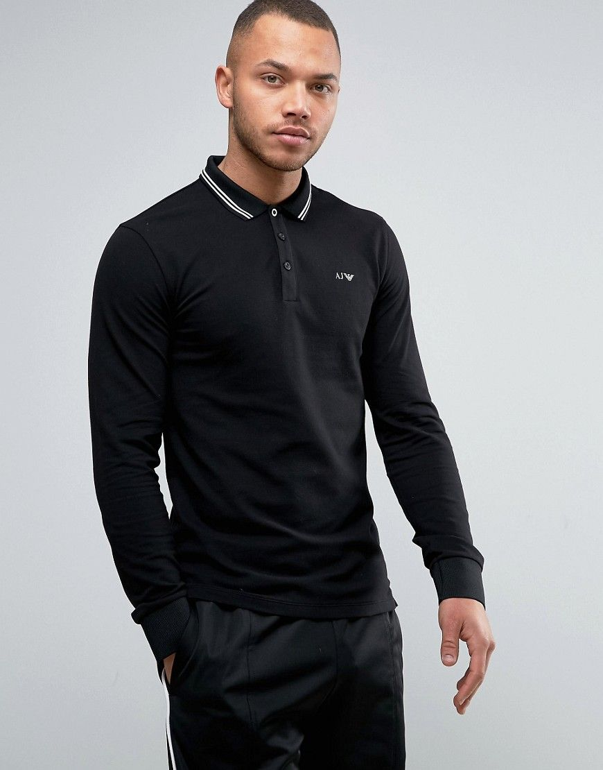 573d9e3475c05 ARMANI JEANS LONG SLEEVE PIQUE POLO SLIM FIT TIPPED IN BLACK - BLACK.   armanijeans  cloth