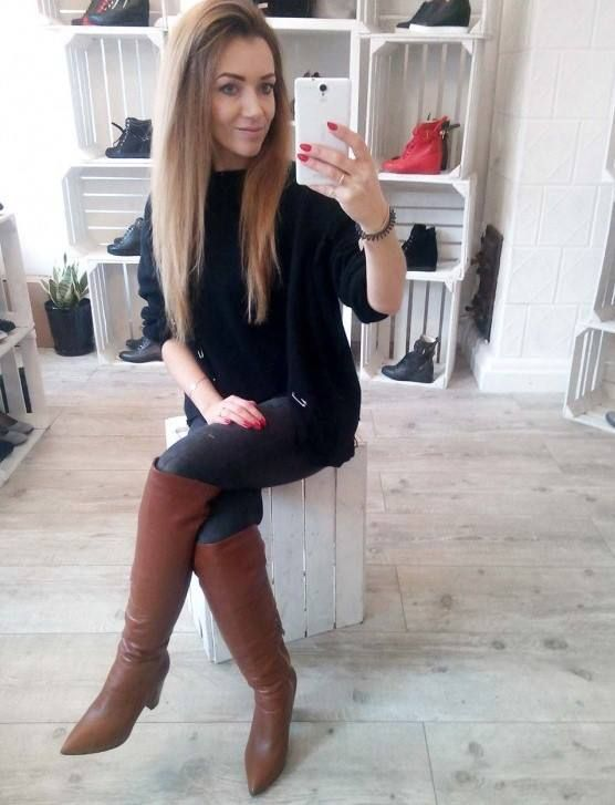 Cognac thigh boots with jeans #highheelbootsoutfit | Lange