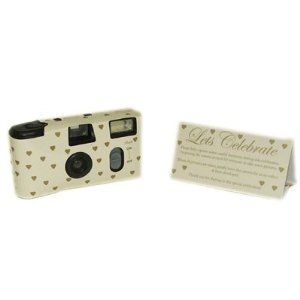 Pack of 5 Cream & Small Gold Hearts wedding Cameras: Amazon.co.uk: Sports & Outdoors