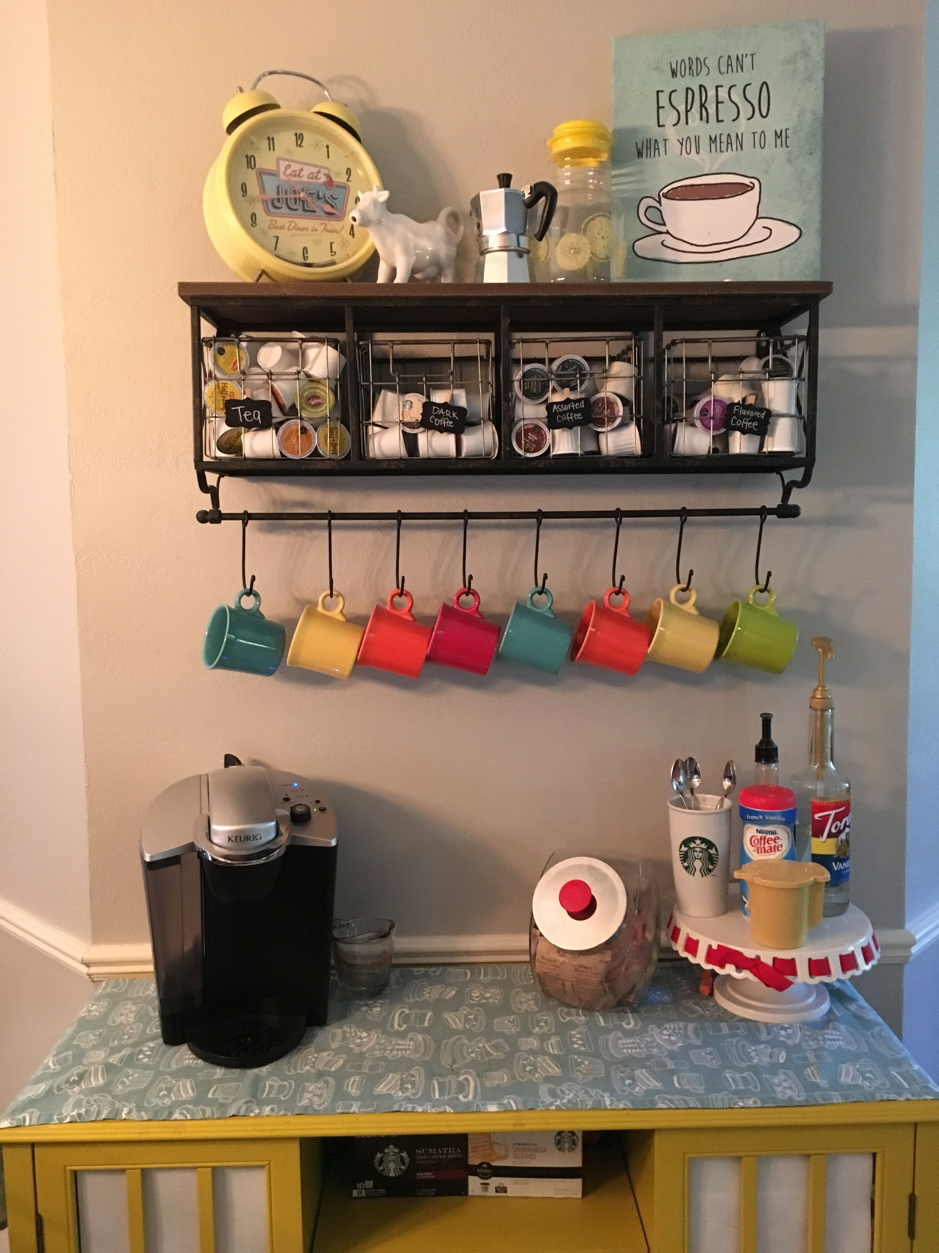 At Home Coffee Bar For Keurig Shelf From Hobby Lobby Fiesta Mugs And Vintage Thrifted Accessories Vintage Fiestaware Coffee Bars In Kitchen Coffee Bar Home Home Coffee Stations