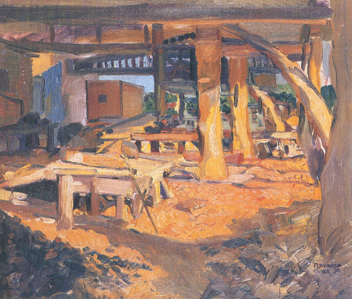 El aserradero de Fernando Fader. Óleo sobre tela. 1907-1908.  Colección de la Pinacoteca del Ministerio de Educación y Deportes.