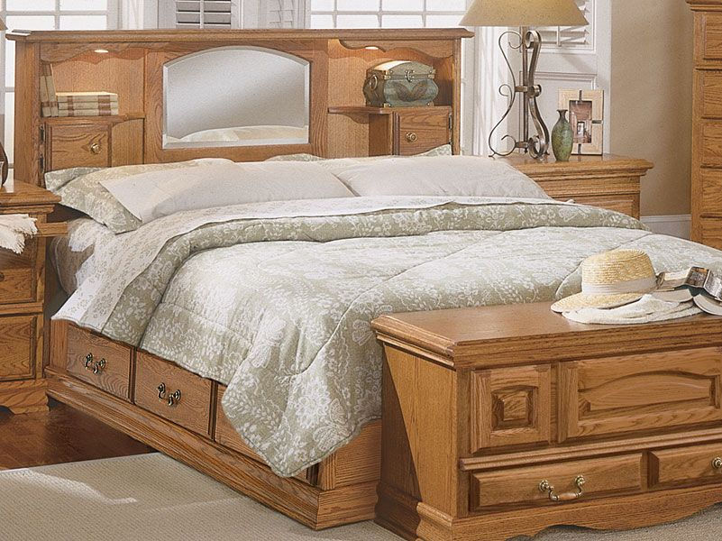 Bedroom furniture nostalgia bookcase headboard for American made oak bedroom furniture