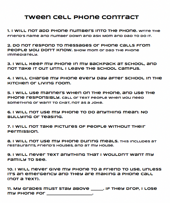 Tween Cell Phone Contract Cell Phone Contract Kids Cell Phone Contract Kids Cell Phone