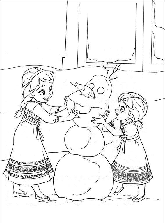 coloriage reine des neiges elsa et anna enfant bonhomme de neige