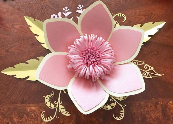Paper Flowers Svg Petal 15 Paper Flower Template With Base