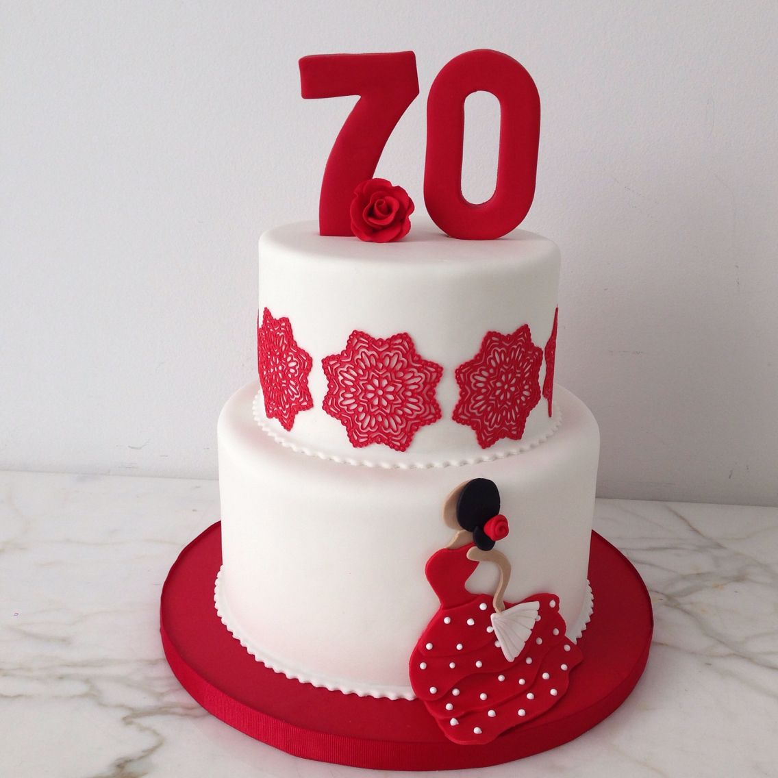 Flamenco inspired 70th birthday cake red white dancer edible