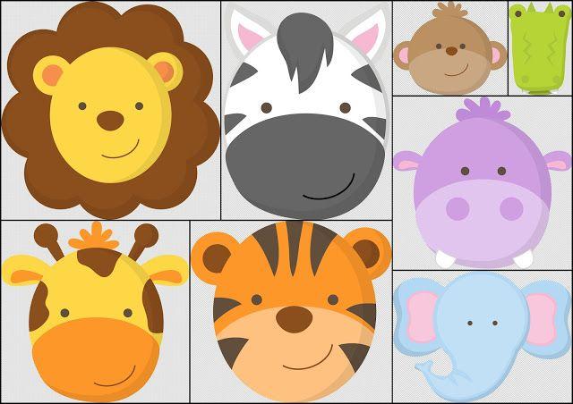 Baby Jungle Faces Con Imagenes Cumpleanos De Animales Baby