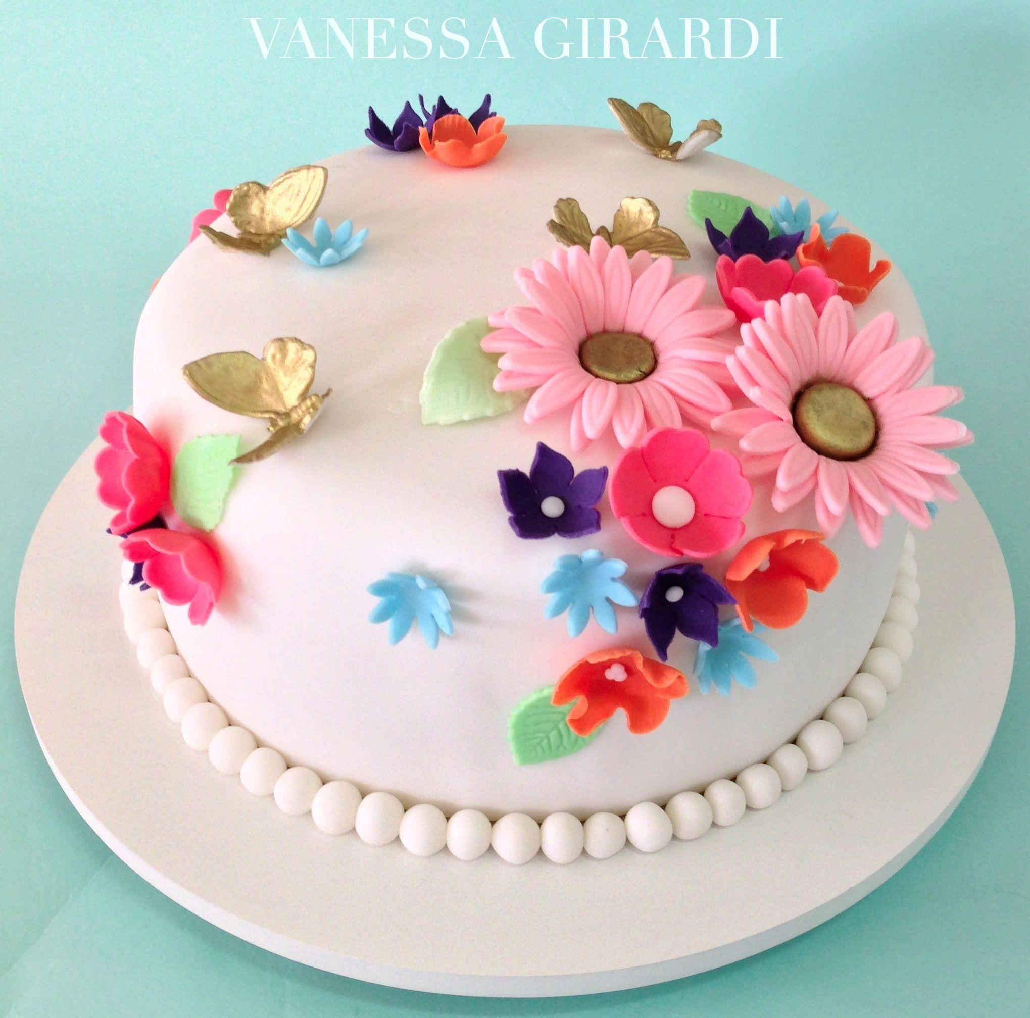 Colorful flowers cake Pretty and Girly cakes Pinterest Cake