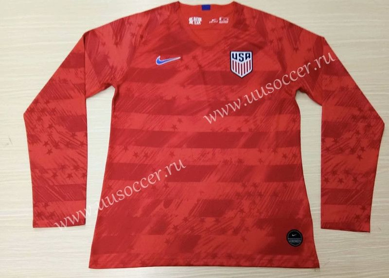 191009d0f 2019-2020 USA Away Red LS Thailand Soccer Jersey AAA