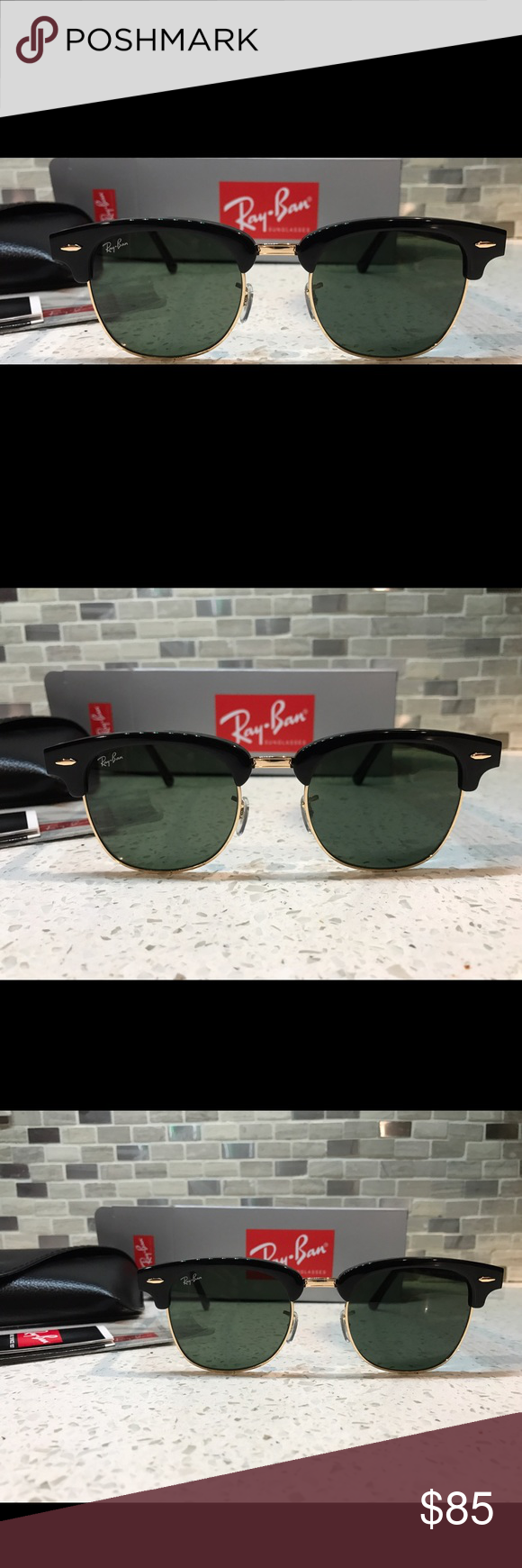 abcc4b0011cf4c Ray-Ban Clubmaster RB3016 W0365 51mm Black-Gold Frame Green Lens   100%  Authentic and brand new! Glasses are unisex. Comes with case. Ray-Ban  Accessories ...