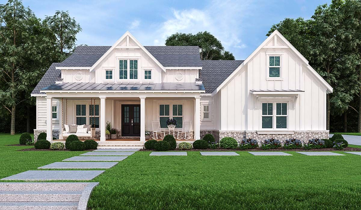 One-Story Style House Plan 72250 with 3 Bed , 4 Bath , 2 ...