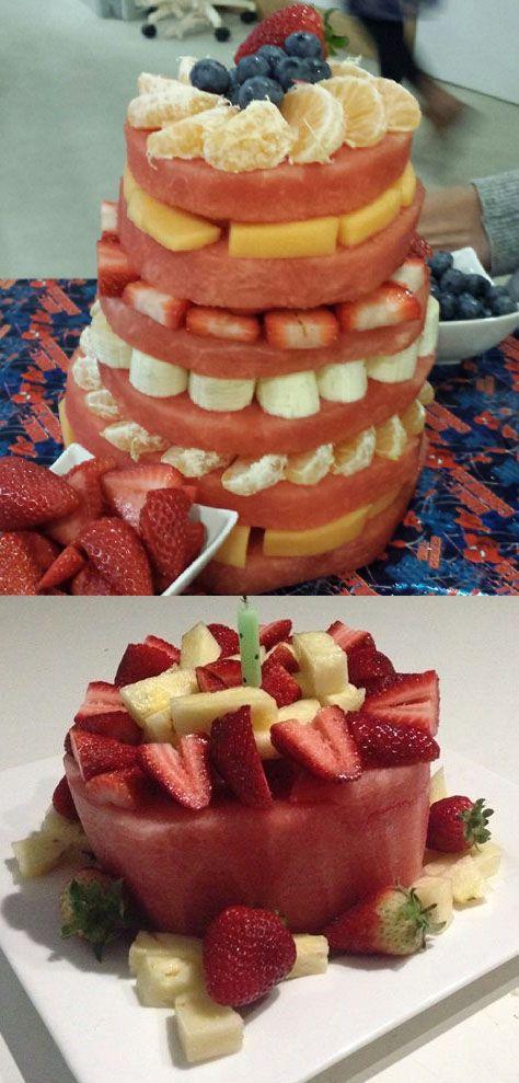 Prime Watermelon Cakes Are A Great Healthy Alternative To Birthday Cake Funny Birthday Cards Online Aboleapandamsfinfo