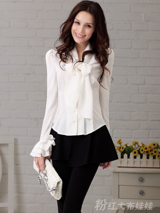 Collection Womens White Blouses Long Sleeve Pictures - Reikian