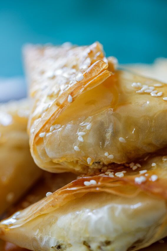 Greek Feta and phyllo pies with honey and oregano - Simply Delicious - Kelsey Randolph -