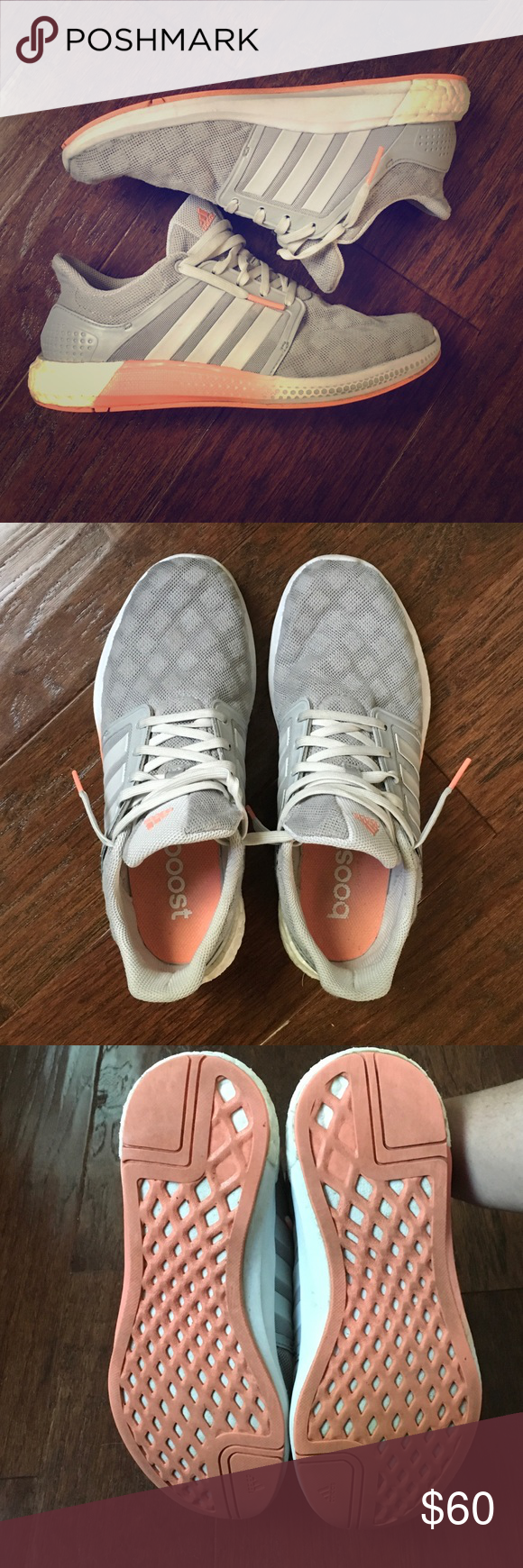 🆕ADIDAS Boost Women's Size 7.5 fits like 8 Excellent condition! Only worn a handful of times (I have a few pair). These run a little big - I am a very consistent 8 but wear a 7.5 in these. Adidas Running Solar Boost - Light gray with coral soles. Very lightweight!! A few dirt smudges here and there that are hardly noticeable at all (see pics). Only slight wear on the soles (see pic)! Some discoloration/dirt on back white section and slight fray at tip of toe section - added pics! adidas…