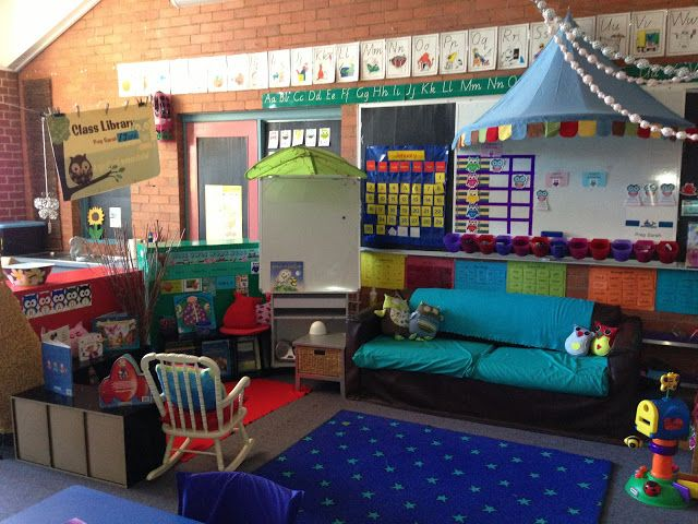 Classroom Meeting Ideas ~ Meeting place and class library preschool classroom