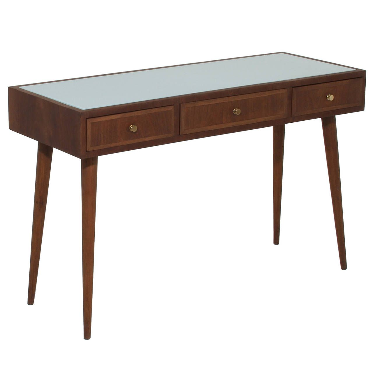 Brazilian Freijo Wood Desk With White Glass Top By Scapinelli